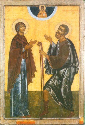 Икона Прокопий Устюжский, в молении к Спасу